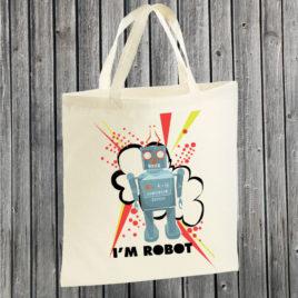 Shopper Cotone – I'm robot (blu)
