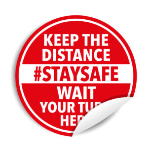"Adesivi calpestabili ""KEEP THE DISTANCE #STAYSAFE"""