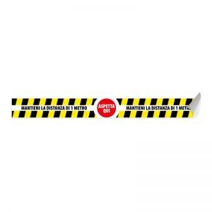 Segnaletica per pavimento – ASPETTA QUI! MANTIENI LA DISTANZA