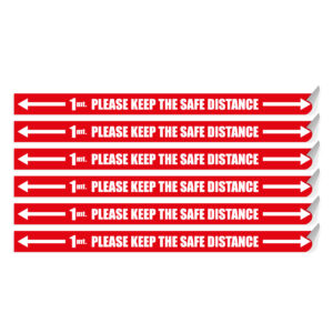 "Segnaletica per pavimento ""PLEASE KEEP THE SAFE DISTANCE"" con frecce"