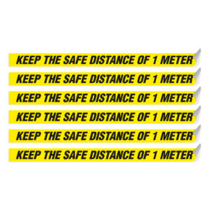 "Segnaletica per pavimento ""KEEP THE SAFE DISTANCE OF 1 METER"""