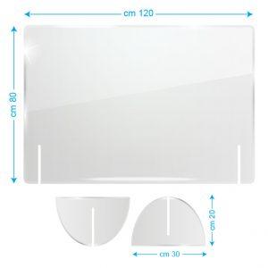 Schermo protettivo da banco in plexiglass 120x80cm senza fessura