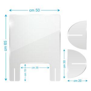 Schermo protettivo da banco in plexiglass 50x65cm con fessura