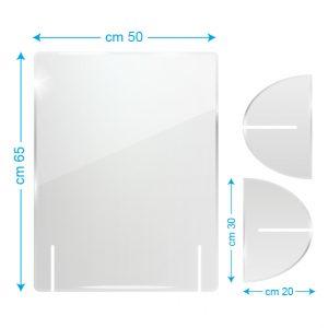 Schermo protettivo da banco in plexiglass 50x65cm senza fessura