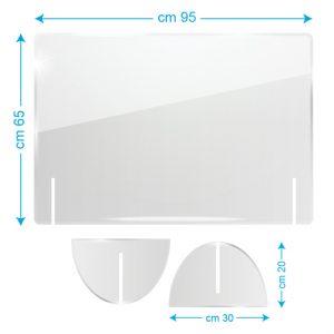 Schermo protettivo da banco in plexiglass 95x65cm senza fessura