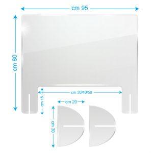 Schermo protettivo da banco in plexiglass 95x80cm con fessura