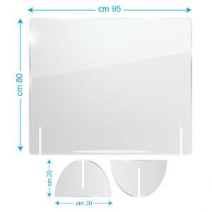 Schermo protettivo da banco in plexiglass 95x80cm senza fessura
