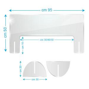 Schermo protettivo da banco in plexiglass 95x50cm con fessura