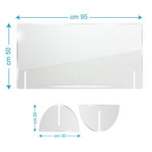 Schermo protettivo da banco in plexiglass 95x50cm senza fessura