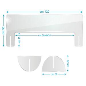 Schermo protettivo da banco in plexiglass 120x50cm con fessura