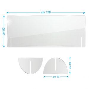 Schermo protettivo da banco in plexiglass 120x50cm senza fessura