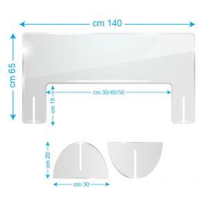 Schermo protettivo da banco in plexiglass 140x65cm con fessura