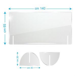 Schermo protettivo da banco in plexiglass 140x65cm senza fessura