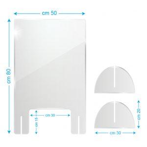 Schermo protettivo da banco in plexiglass 50x80cm con fessura