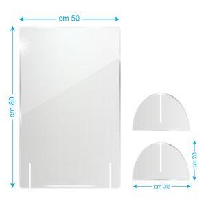 Schermo protettivo da banco in plexiglass 50x80cm senza fessura