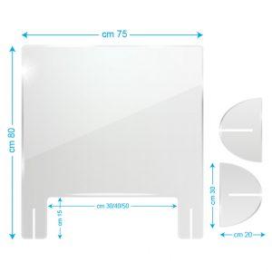 Schermo protettivo da banco in plexiglass 75x80cm con fessura