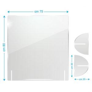 Schermo protettivo da banco in plexiglass 75x80cm senza fessura
