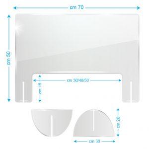 Schermo protettivo da banco in plexiglass 70x50cm con fessura