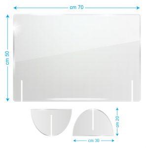 Schermo protettivo da banco in plexiglass 70x50cm senza fessura