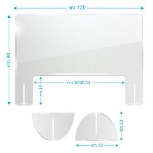 Schermo protettivo da banco in plexiglass 120x80cm con fessura