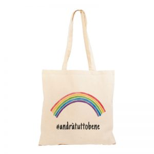 "Shopper ""#andràtuttobene"" con arcobaleno"
