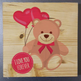 Stampa su legno – Bear with balloons of love
