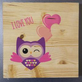 Stampa su legno – Gufo I love you