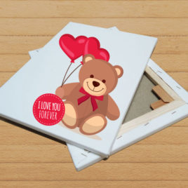 Stampa su tela – Bear with balloons of love